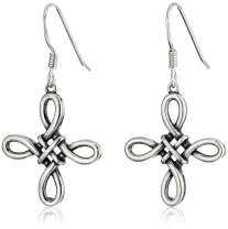 Plated 925 Sterling Silver Celtic Knot Cross Drop Earrings