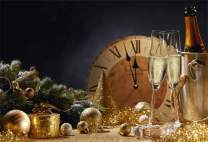 Laeacco Christmas New Year 2020 Backdrop Vinyl 10x8ft Golden Glittering Xmas Balls Party Cap Vintage Clock Dial Countdown Champagne Bucket Background New Year's Eve Party Banner Child Adult Shoot