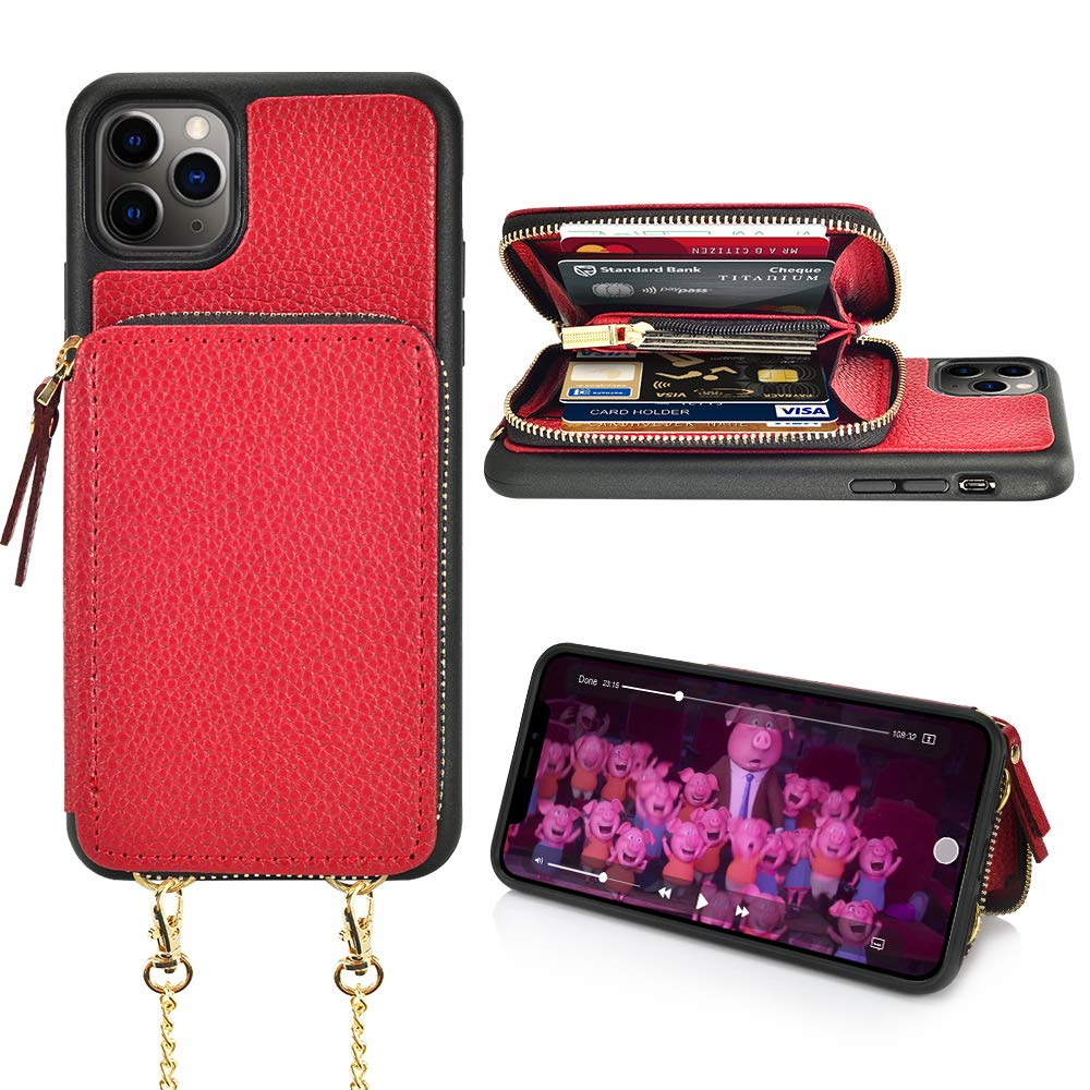 LAMEEKU iPhone 11 Pro Max Wallet Case, iPhone 11 Pro Max Case with Card Holder, Zipper Leather Case with Card Slot Crossbody Chain, Protective Cover for iPhone 11 Pro Max 6.5'' (2019) - Biking Red