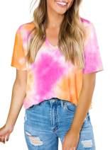 Eytino Women Colorblock Tie Dye Printed Tshirts Casual Short Sleeve Round Neck Blouse Tops(S-XXL)