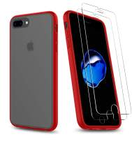 UNIWILAND 2-in-1 iPhone 7 Plus Case/iPhone 8 Plus Case with 2 Packs Screen Protector, Matte Black Clear Back Drop Protection Case&Tempered Glass Screen Protector for iPhone 7 Plus/iPhone 8 Plus(Red)