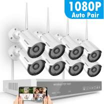 [2020 New] 1080P Full HD Security Camera System Wireless,SAFEVANT 8 Channel Home NVR Systems with 8pcs 960P 1.3MP Outdoor Indoor IP Surveillance Cameras Night Vision Motion Detection