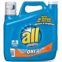 All Liquid Laundry Detergent with OXI Stain Removers and Whiteners, 141 Fluid Ounces, 79 Loads
