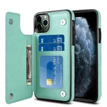 Jiunai iPhone 11 Pro Case, Flip Wallet Case for Credit Card Anti Scratch Card Slot Holder PU Leather Back Dual Layer Non Slip Double Magnetic Clasp Button Cover Case for iPhone 11 Pro 5.8 inch Green
