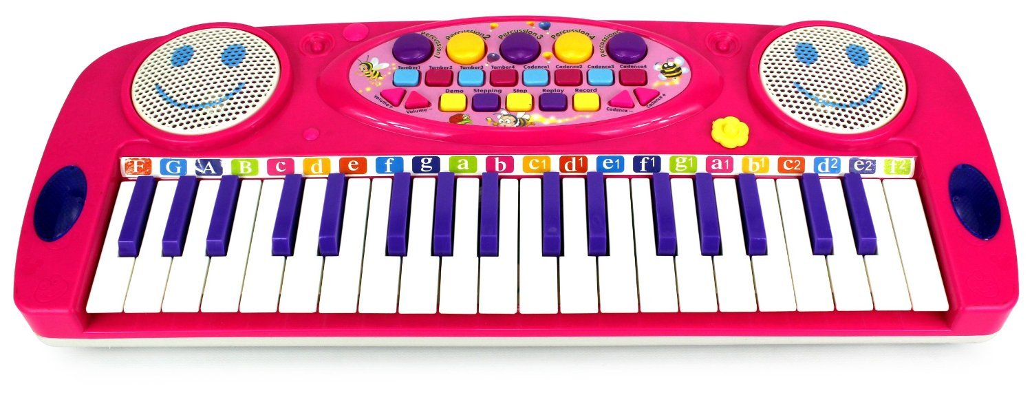 VT Happy Face 37 Keys Electric Organ Children's Kid's Battery Operated Toy Piano Keyboard Instrument (Pink)