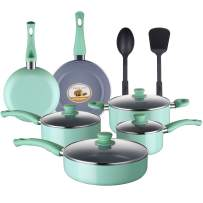 AMERICOOK 12 Piece Kitchen Pots and Pans Set Non-stick Cookware Set,Gray Ceramic Aluminum Cooking and Frying Cookware with Vented Glass Lids and 2 Kitchen Utensils, Tiffany Blue