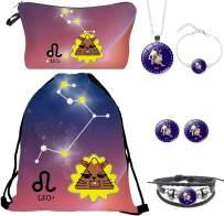 CUBBOT 12 Constellation Drawstring Backpack Gifts for Girls Waterproof Kids Makeup Bags Bracelet/Necklace/Earrings.Leo