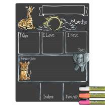Cohas Monthly Milestone Board for Baby with Safari Theme, Reusable Chalkboard Style Surface, and Liquid Chalk Markers, 12 by 16 Inches, 3 Bright Markers