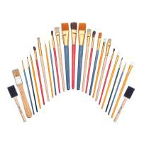 Academy Art Supply - 25 Piece Paintbrush All-Purpose Value Pack with Bristle, Nylon, Sponge, and Camel Hair Brushes for Acrylic, Oil, Watercolor, and Gouache