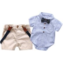 Baby Boys Short Sleeve Gentleman Outfits Suits, Infant Blue Shirt+Bib Pants+Tie Overalls Clothing Set