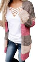 COCOLEGGINGS Women's Color Block Drape Oversized Knitted Cardigan Sweaters