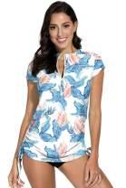BesserBay Women's UV Sun Protection 1/4 Zip Short Sleeve Rash Guard Swimsuit Top