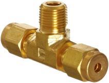 "Parker A-Lok 6MBT4N-B Brass Compression Tube Fitting, Branch Tee, 3/8"" Tube OD x 1/4"" NPT Male x 3/8"" Tube OD"