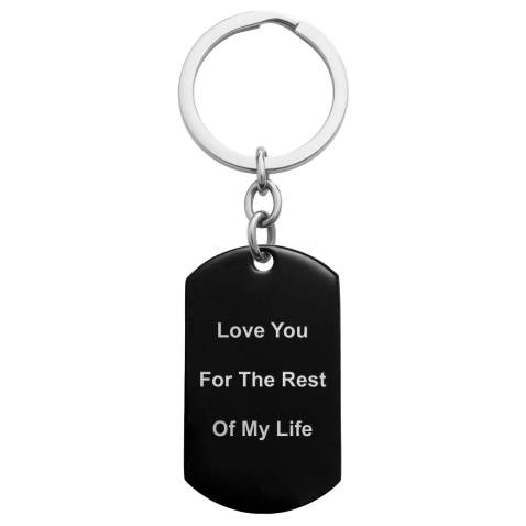 Engraved Initials dog tag KEYCHAIN in 3D Text Name Tags key chain Personalized Custom Made for Him her Boyfriend Girlfriend Dad Mom