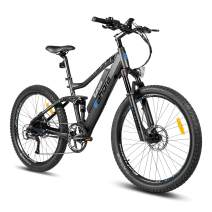 Eahora AM100 Plus 27.5 Inch Electric Mountain Bike Cruise Control Electric Bicycle Hydraulic Brakes Full Air Suspension 48V 10.4Ah Battery 350W Ebike Power Regeneration 9 Speed Black
