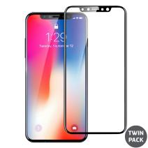 Olixar for iPhone X Screen Protector - Glass Screen Protector - Full Coverage - Tempered Glass - 9H Rated - Shock Protection - Easy Application, Card and Cleaning Cloth Included - Black - 2 Pack