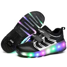 Nsasy YCOMI Girl's Boy's LED Light Up Single Wheel Skate Shoes Fashion Roller Skate