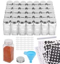 Aozita 36 Pcs Glass Spice Jars with 612 Spice Labels - 4oz Empty Square Spice Bottles - Shaker Lids and Airtight Metal Caps - Chalk Marker and Silicone Collapsible Funnel Included