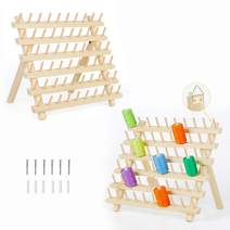 HAITRAL 2 Pack 60-Spool Thread Holder Rack - Sewing Organize with Hook and Tool, Wooden Embroidery Thread Holder for Sewing, Quilting, Embroidery, Hair-braiding