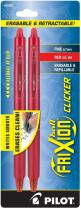 PILOT FriXion Clicker Erasable, Refillable & Retractable Gel Ink Pens, Fine Point, Red Ink, 2-Pack (31462)