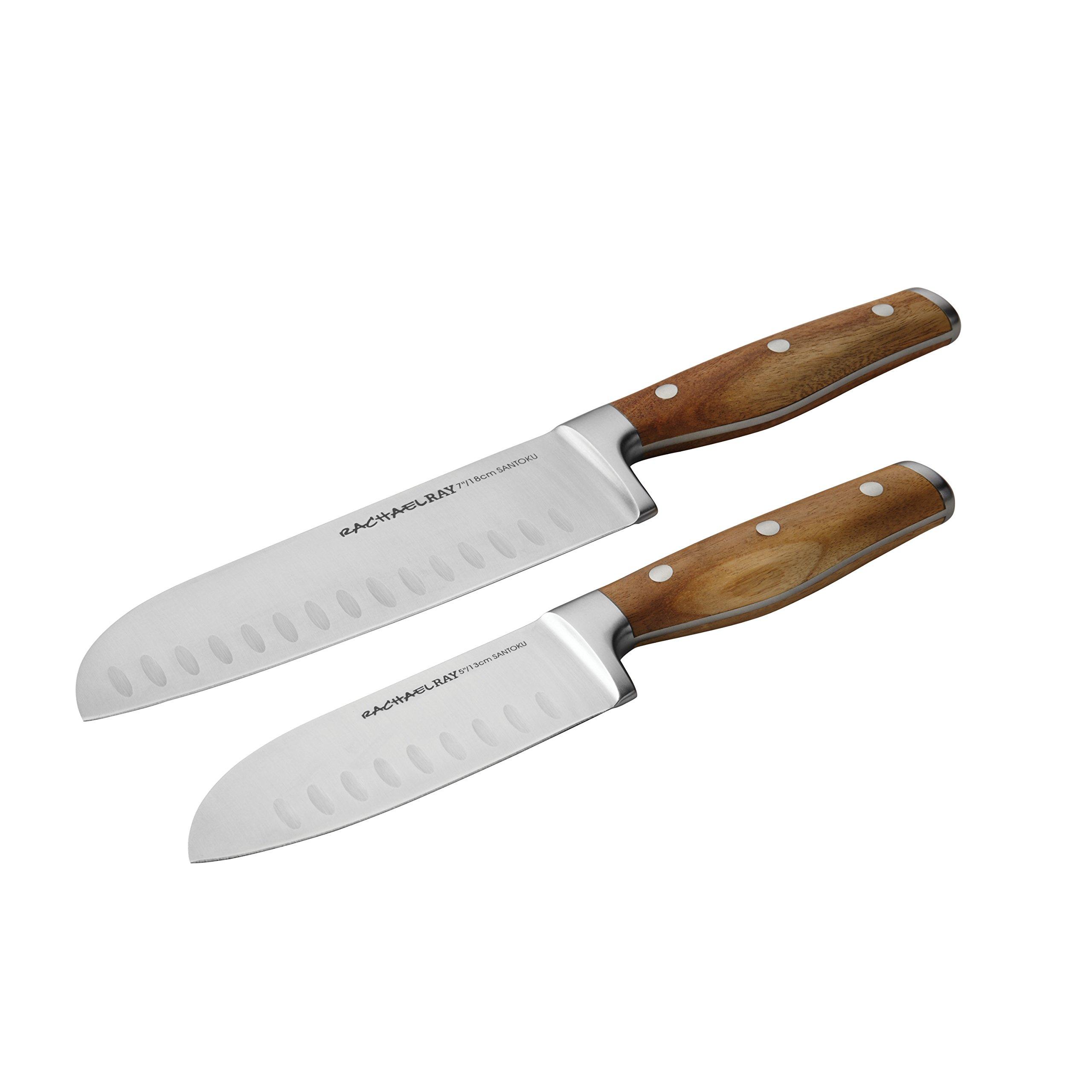 Rachael Ray Cucina Cutlery 2-Piece Japanese Stainless Steel Santoku Knife Set with Acacia Handles - 50707,Acacia Wood