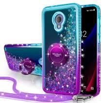 Alcatel TCL LX Case, Alcatel 1X Evolve Case, Silverback Moving Liquid Holographic Glitter Case with Bling Kickstand Girls Women Case for Alcatel IdealXtra(5059R) -Purple