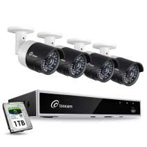 Loocam 1080p Outdoor Security System, 4 Channel Surveillance DVR with 1TB HDD and 4 X 2.0 MP Security Bullet Cameras, IP67 Weatherproof, 150ft Night Vision, Motion Detection and Email Alert