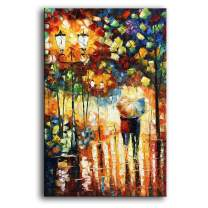 YaSheng Art 24x36inch Landscape Oil Painting on Canvas Lover Rain Street Tree Lamp Palette knife Abstract Landscape Art Paintings Canvas Wall Art Modern Home living room Office Decor Abstract painting