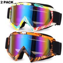 Rngeo Ski Goggles, 2 Pack Snowboard Glasses Men Women UV Protection Anti-Glare
