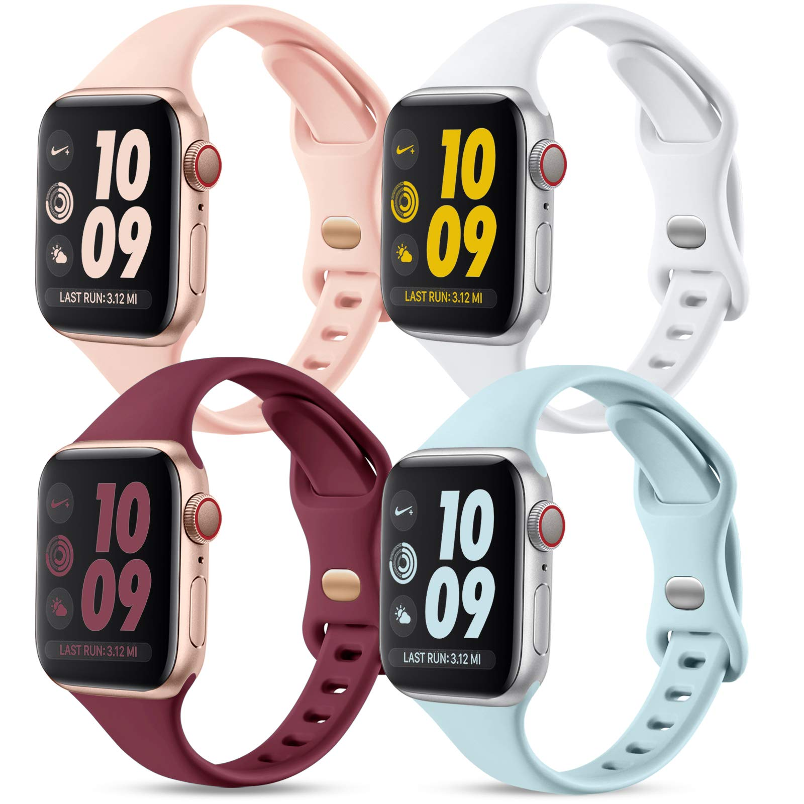 GEAK Compatible with Apple Watch Band 44mm 42mm Series 4 for Women Men, Narrow Soft Silicone Thin Wristband for iWatch SE & Series 6 5 4 3 2 1, 4Pack Mint Green/Sand Pink/White/Wine Red