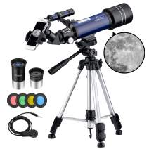 MAXLAPTER Telescope for Kids Adults Astronomy Beginners, 70mm Aperture Refractor Telescope for Astronomy, Portable Telescope with Tripod, Smartphone Adapter, Two Eyepieces, Backpack