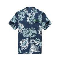 Hawaii Hangover Men's Hawaiian Shirt Aloha Shirt 3XL Custom Embroidery Palm Leaves in Navy