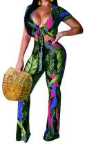 Women's 2 Piece Outfits Sexy Jumpsuits Tie Front Crop Top Bell Bottom Pants Set