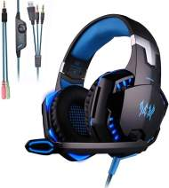 KOTION Each G2000 Gaming Headset,Xbox One Headset with 7.1 Surround Sound&Noise Canceling Mic&LED Light,Bass Surround,Compatible with PS5,PC, PS4, Xbox One,Nintendo Switch,Playstation 4-Blue