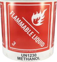 Hazard Class 3 D.O.T. UN1230 Methanol Flammable Liquid Labels 4 x 4 3/4 Inch Square 500 Adhesive Labels