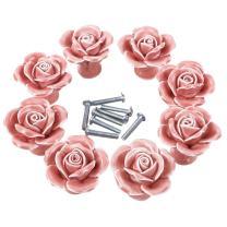 CSKB Rose Ceramic Door Knob Handle Pull Knobs for Room Drawer, Cabinet, Chest, Bin, Dresser, Cupboard, Etc with Screws (8PCS, Pink)