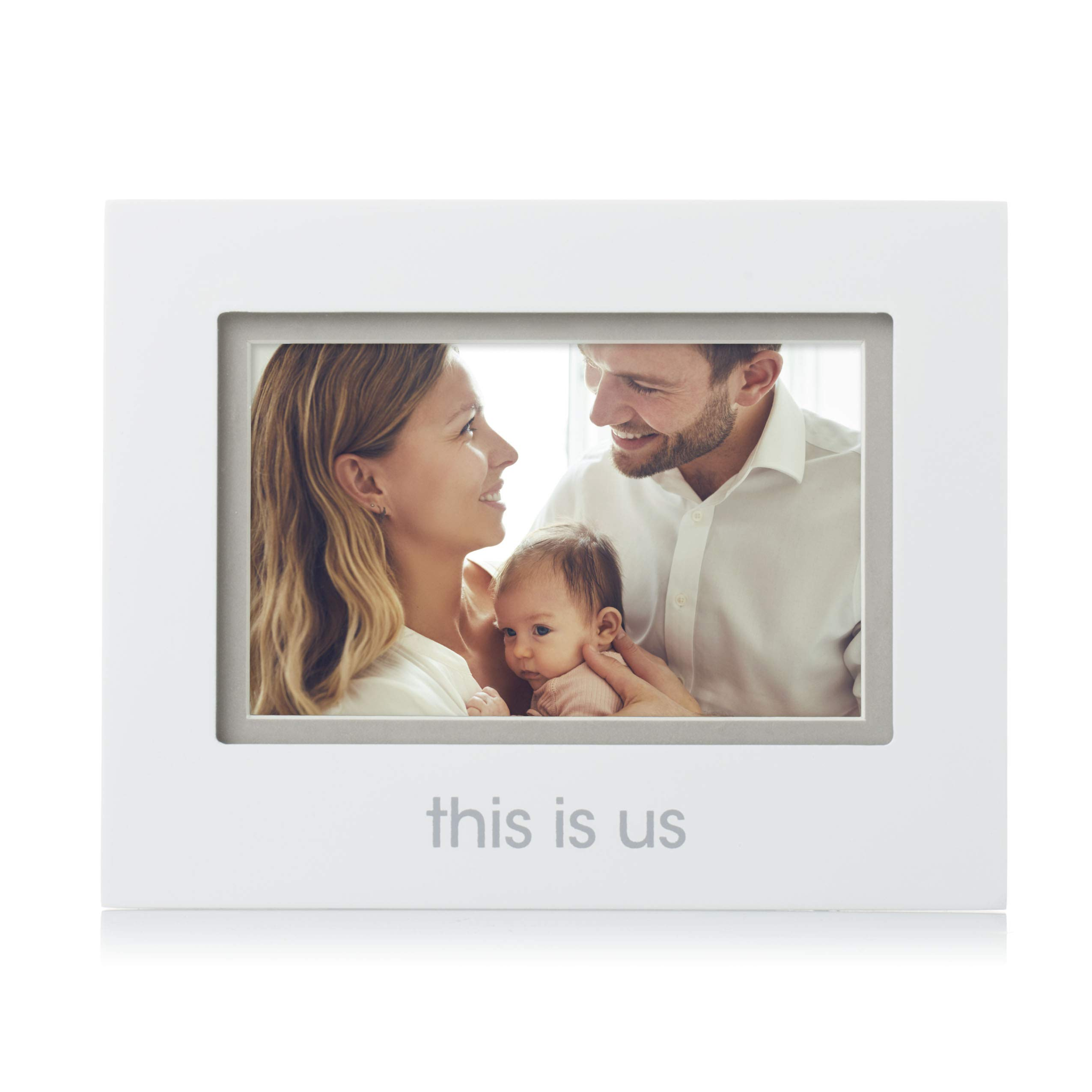 """Pearhead 4-Inch x 6-Inch""""This is Us"""" Sentiment Picture Frame, Baby Registry Must Haves, Perfect Baby Shower Gift, White"""