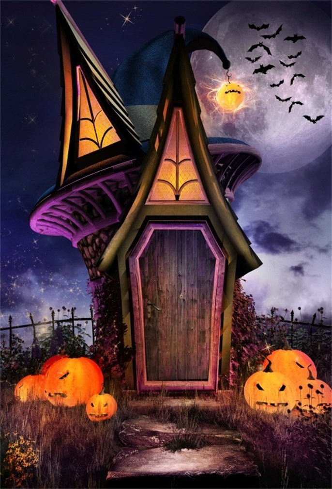 AOFOTO 4x6ft Scary Halloween Grimace Pumpkin Backdrop Gloomy Moon Night Magic Witch Wizard Cabin Bat Photography Background Sorcerer Soul Ghost Party Decor Banner Photo Studio Props Vinyl Wallpaper