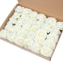 MACTING Artificial Flower Rose, 60pcs Real Touch Artificial Roses for DIY Bouquets Wedding Party Baby Shower Home Decor