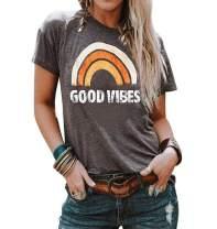 Fenxxxl Womens Good Vibes Tshirt Cute Vintage Graphic Tee Short Sleeve Summer Shirts Juniors Tops