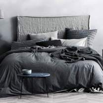 ECOCOTT 3 Pieces Duvet Cover Set Queen 100% Washed Cotton 1 Duvet Cover with Zipper and Pillowcases, Ultra Soft and Easy Care Breathable Cozy Simple Style Bedding Set(Dark Grey)