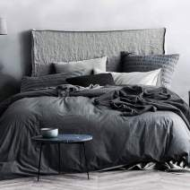 ECOCOTT 3 Pieces Duvet Cover Set King 100% Washed Cotton 1 Duvet Cover with Zipper and 2 Pillowcases, Ultra Soft and Easy Care Breathable Cozy Simple Style Bedding Set(Dark Grey)
