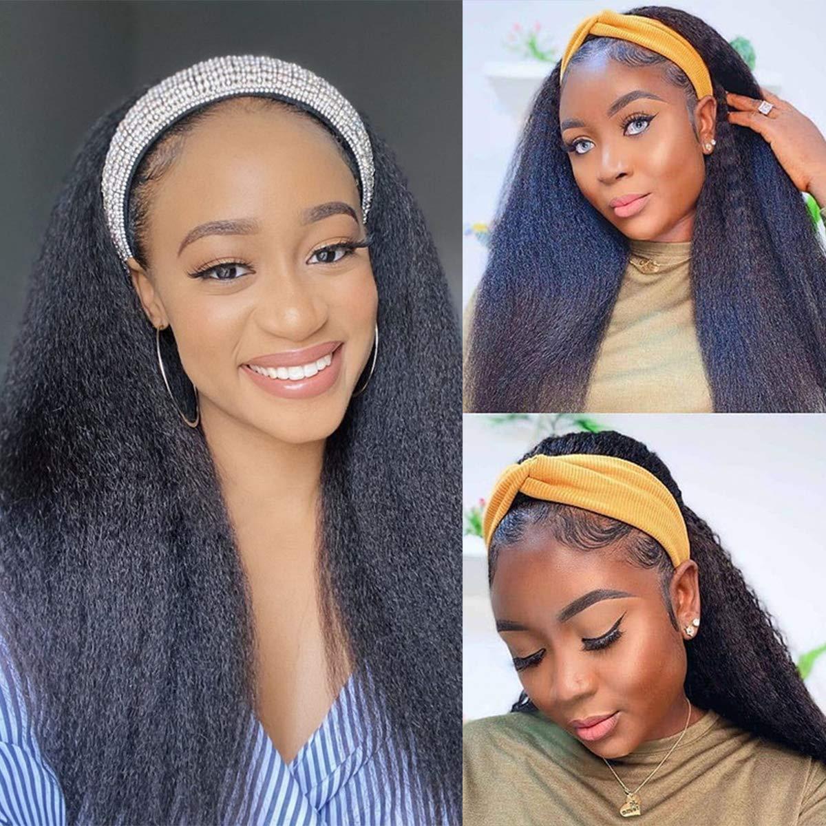 Headband Wigs for Black Women Kinky Straight Headband Wigs Italian Yaki Human Hair Wigs Glueless None Lace Front Wigs Scarf Wigs Machine Made Headband Wigs 20 Inch (Natural Color,Headband Wig)