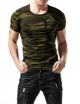 XSHANG Mens Short Sleeve Shirts Comfort-Soft Fitness Stretchy V Neck Camo T-Shirt