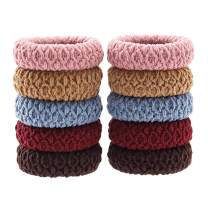 Elastic Hair Bands Thick Hair Ties No Crease Ponytail Holders Stretch Hair Ropes for Women Ladies, Brown Red Blue Pink Khaki (10 PCS)