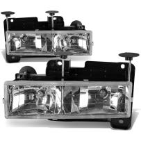 DNA Motoring HL-OH-C10-CH Headlight Assembly, Driver and Passenger Side,Chrome