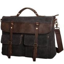 Tocode Large Messenger Bag for Men, Vintage Waxed Canvas Satchel Leather Briefcases Crossbody Shoulder Bags, 15.6 inch Computer Laptop Bags Water Resistant Travel School Work Bag Black