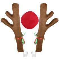 Poptrend Car Reindeer Antlers & Nose Decorations, Window Roof-Top & Front Grille Rudolf Reindeer Jingle Bell Christmas Costume Auto Accessories (Large, Brown+red)