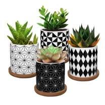 Lewondr 4 Pack Succulent Plant Pots, 2.8 Inch Ceramic Mini Flower Pots Planter with Bamboo Tray for Small Plants Flowers Cactus, Home Decorations Décor - Geometry 01, Black & White