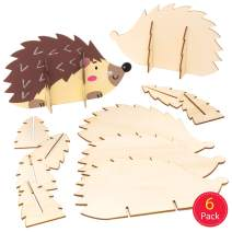 Baker Ross Stand Up Wooden Hedgehogs, Arts and Crafts for Kids (Pack of 6)
